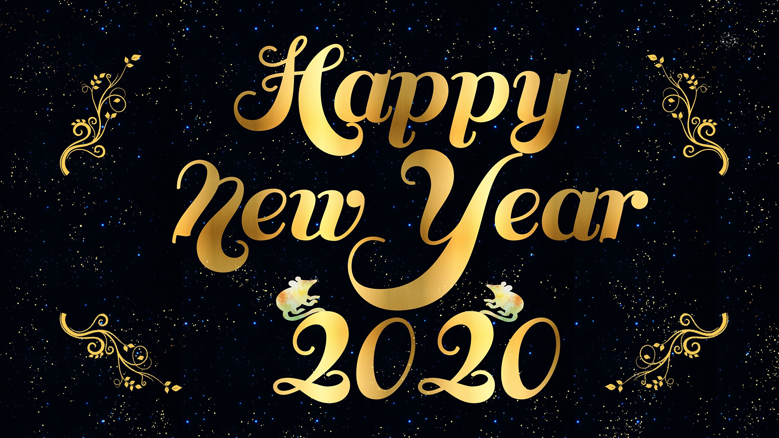 Images 2020 New Year English Black Background 2560x1440