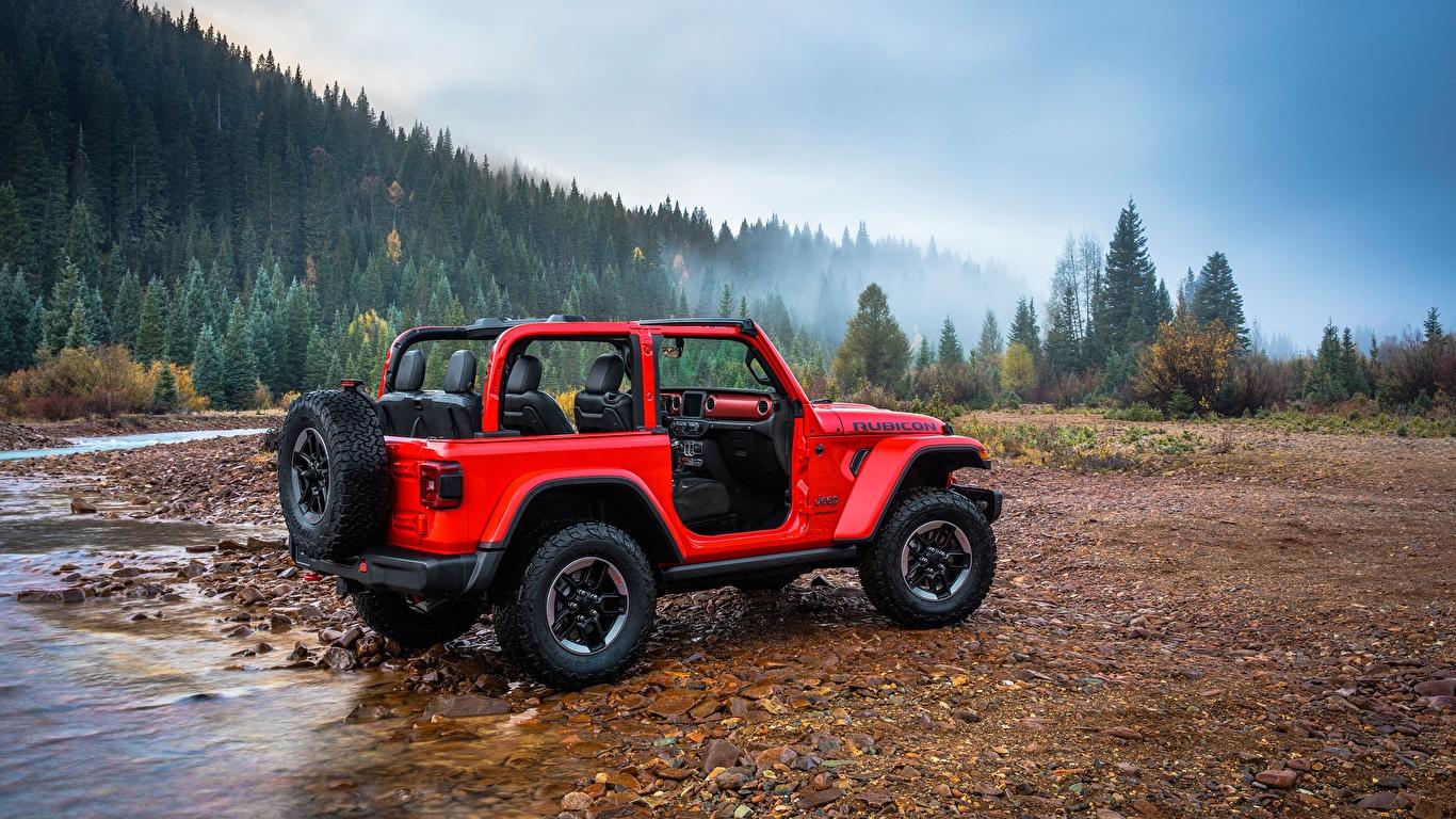 Picture Jeep SUV Wrangler Rubicon, 2018 Red Stones Rivers automobile 1366x768 Sport utility vehicle Cars auto stone river