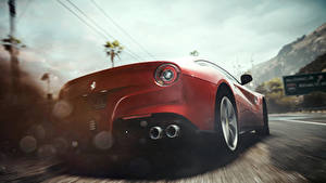 Pictures Need for Speed Ferrari Back view Red Rivals vdeo game Cars