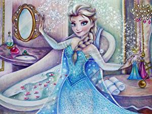 Hintergrundbilder Die Eiskönigin – Völlig unverfroren Disney Gezeichnet Zopf Starren Kleid Elsa Mädchens
