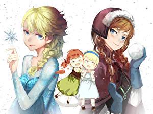 Bilder Gezeichnet Die Eiskönigin – Völlig unverfroren Disney Zopf Zwei Schnee anna, elsa Mädchens