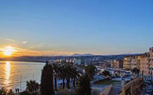 Hintergrundbilder Frankreich Gebäude Sonnenaufgänge und Sonnenuntergänge Meer Küste Sonne Nice Städte
