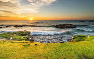 Hintergrundbilder Vereinigte Staaten Küste Sonnenaufgänge und Sonnenuntergänge Wasserwelle Himmel Kalifornien Sonne