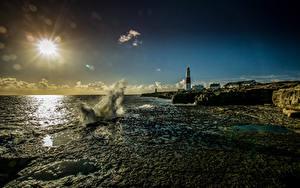 Hintergrundbilder England Küste Leuchtturm Wasserwelle Mond Sonne Portland