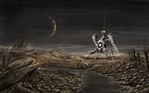 Image Ships Rivers Planet Stone Fantasy Space