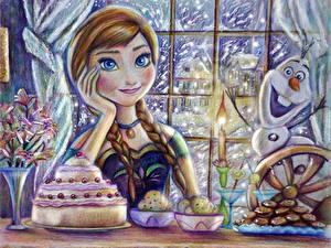Fotos Die Eiskönigin – Völlig unverfroren Disney Gezeichnet Zopf Olaf, Anna Zeichentrickfilm Mädchens