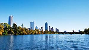 Hintergrundbilder Vereinigte Staaten Himmel Wolkenkratzer Meer Texas Bäume Austin