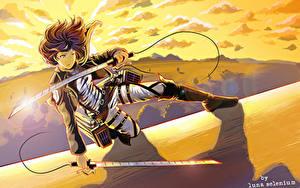 Fotos Attack on Titan Sonnenaufgänge und Sonnenuntergänge Krieger Vektorgrafik Schwert Luna Selenium, mikasa ackerman Anime Mädchens