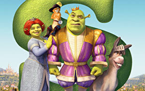Hintergrundbilder Shrek – Der tollkühne Held Hausesel Katze Shrek the Third, Princess Fiona, Puss in Boots Animationsfilm