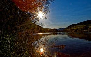 Hintergrundbilder Deutschland Landschaftsfotografie Flusse Sonne Senheim