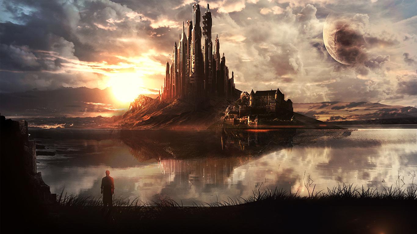 Pictures castle Fantasy Coast Fantastic world 1366x768 Castles