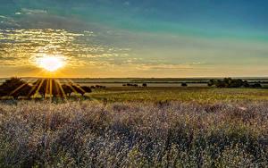 Fotos Landschaftsfotografie Sonnenaufgänge und Sonnenuntergänge Acker Himmel Lichtstrahl Sonne