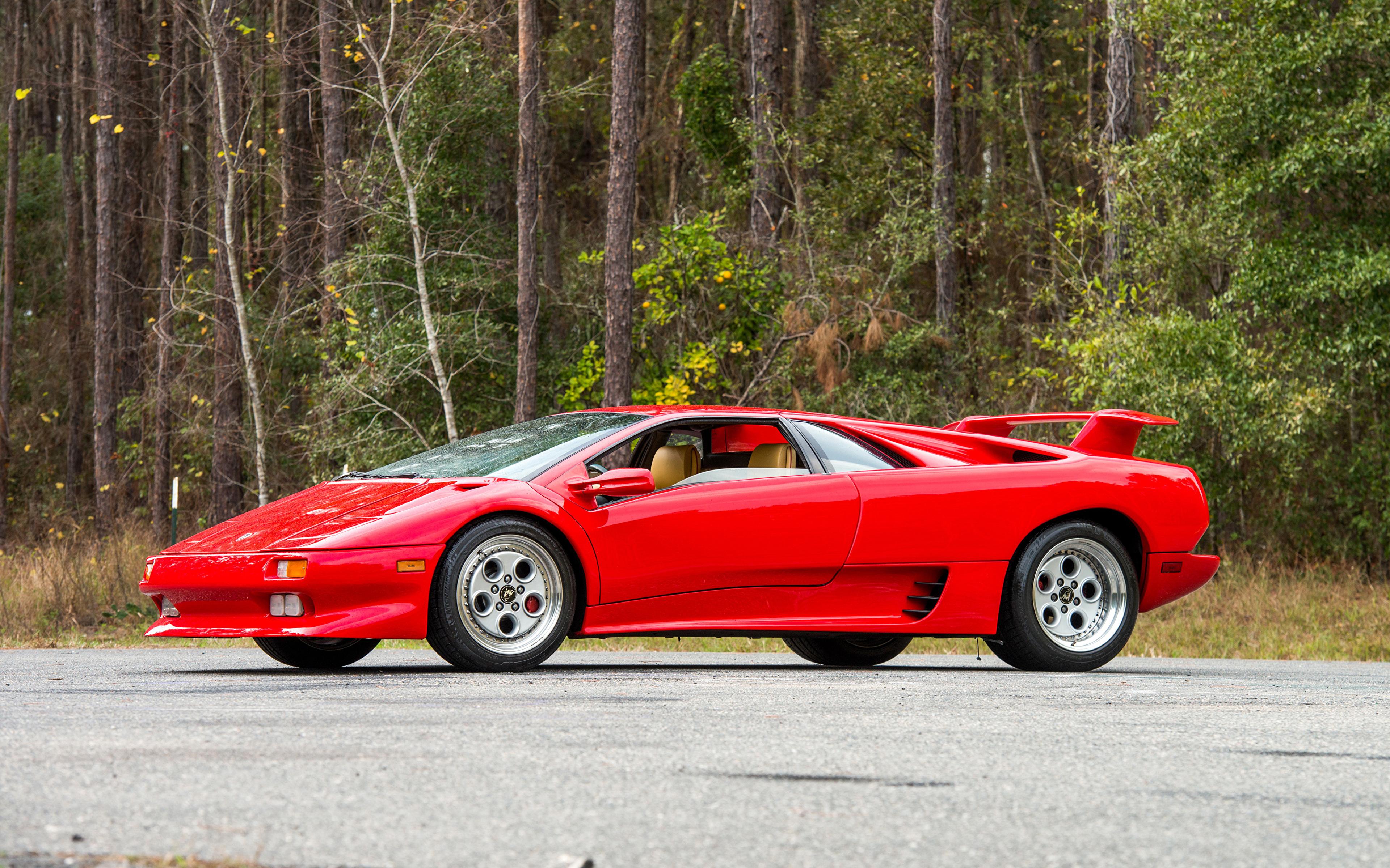 Images Lamborghini 1990 93 Diablo Red Vintage Cars 3840x2400