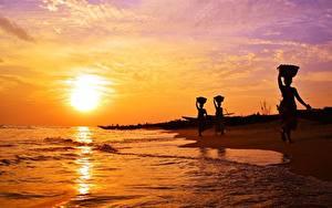 Bilder Indien Sonnenaufgänge und Sonnenuntergänge Küste Meer Himmel Sonne Natur