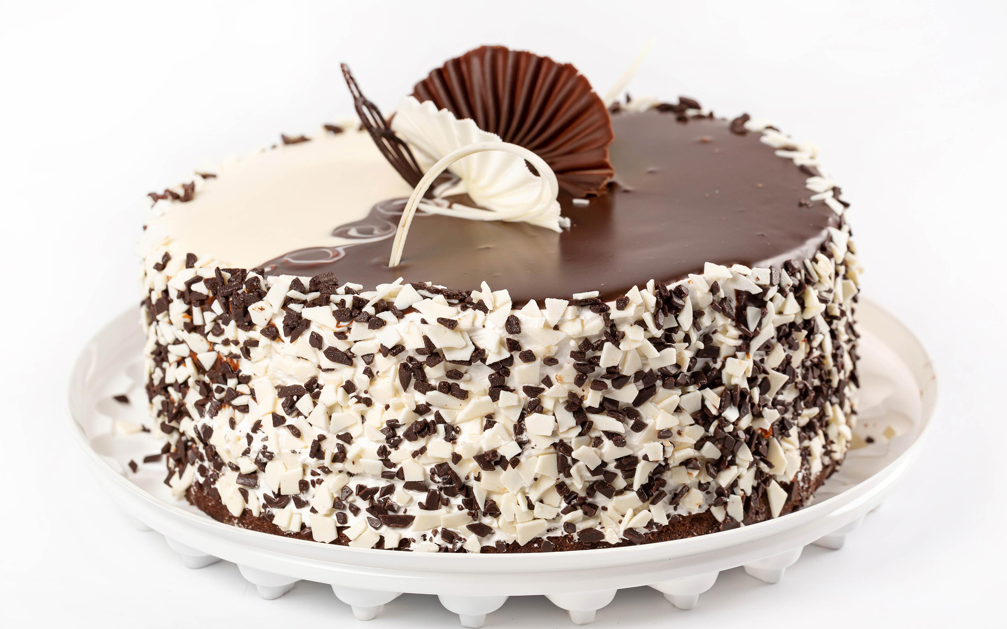 Afbeeldingen Chocolade Taart Voedsel Witte achtergrond Ontwerp 3840x2400 spijs