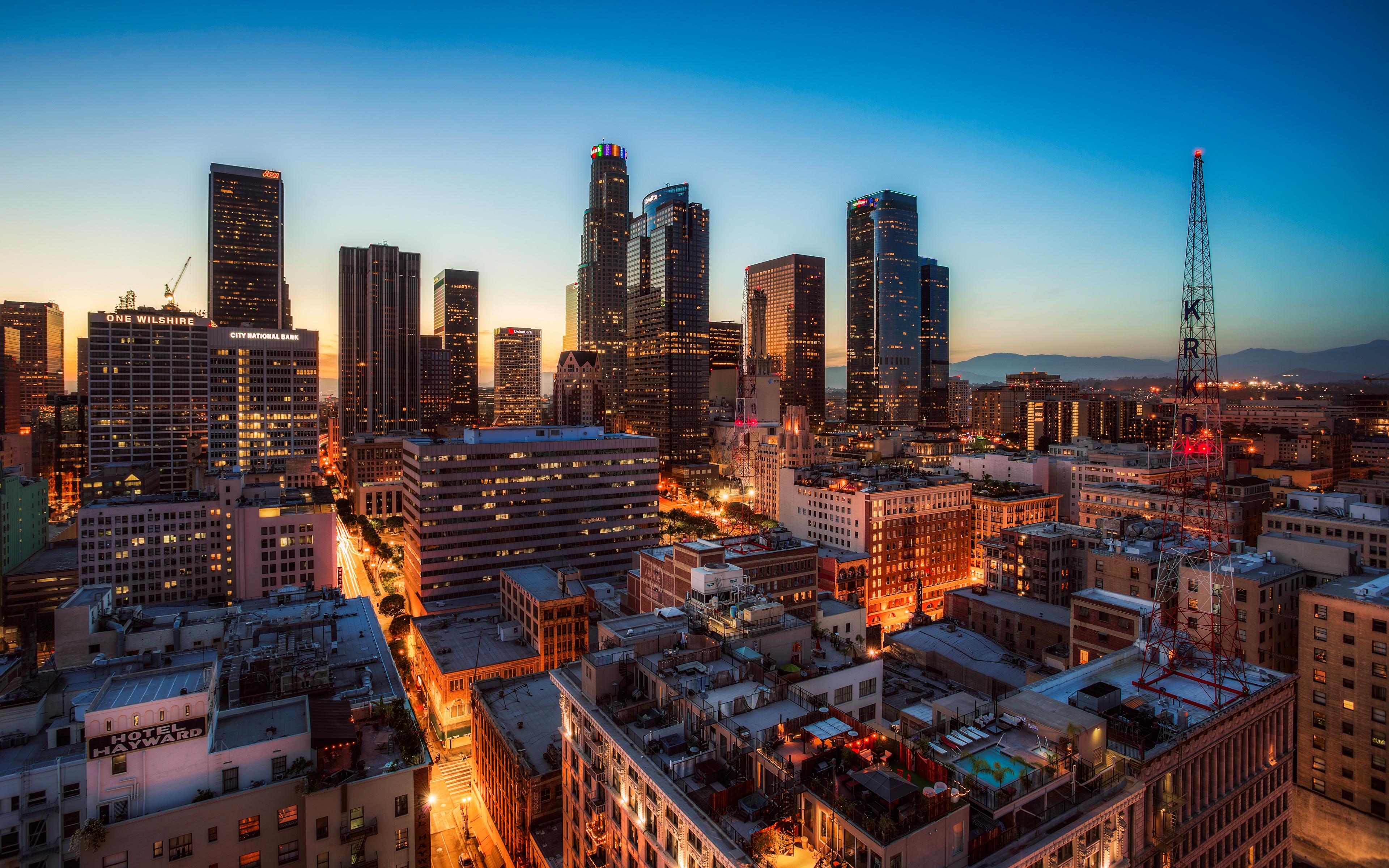 Photos Los Angeles Usa Night Skyscrapers Cities Houses 3840x2400