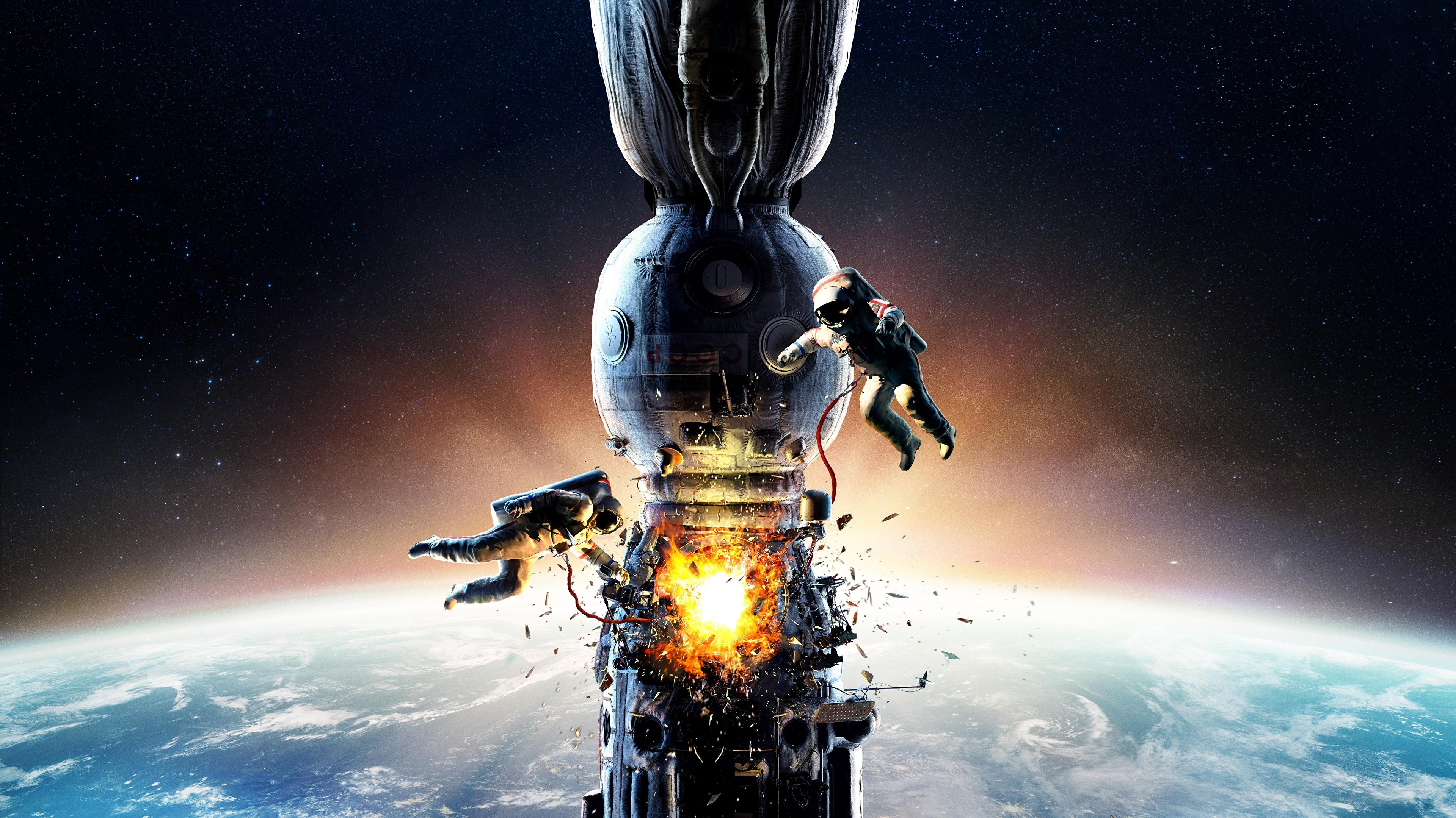Achtergronden Explosie astronaut Ruimtestation Salyut-7 Ruimte Films 3840x2160 Ruimtevaarder film