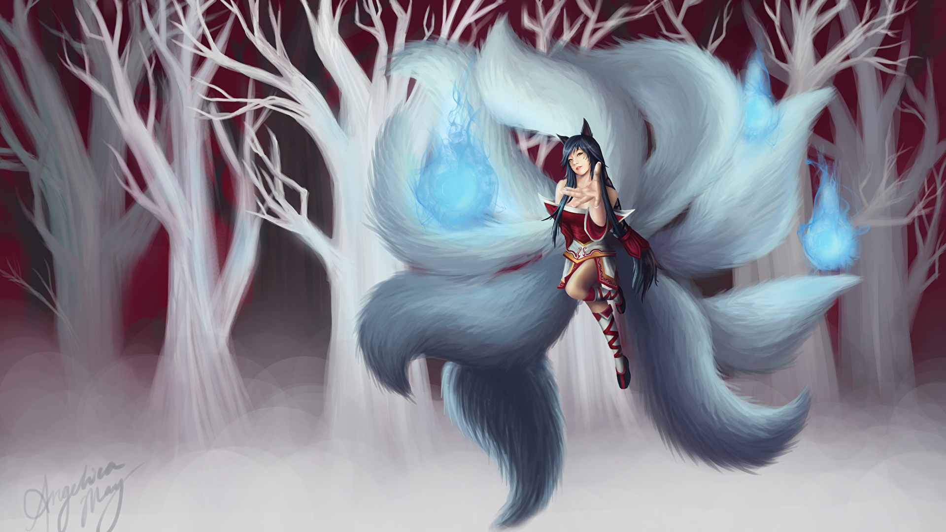 Photos Ahri League Of Legends Female Fantasy Tail Games 1920x1080