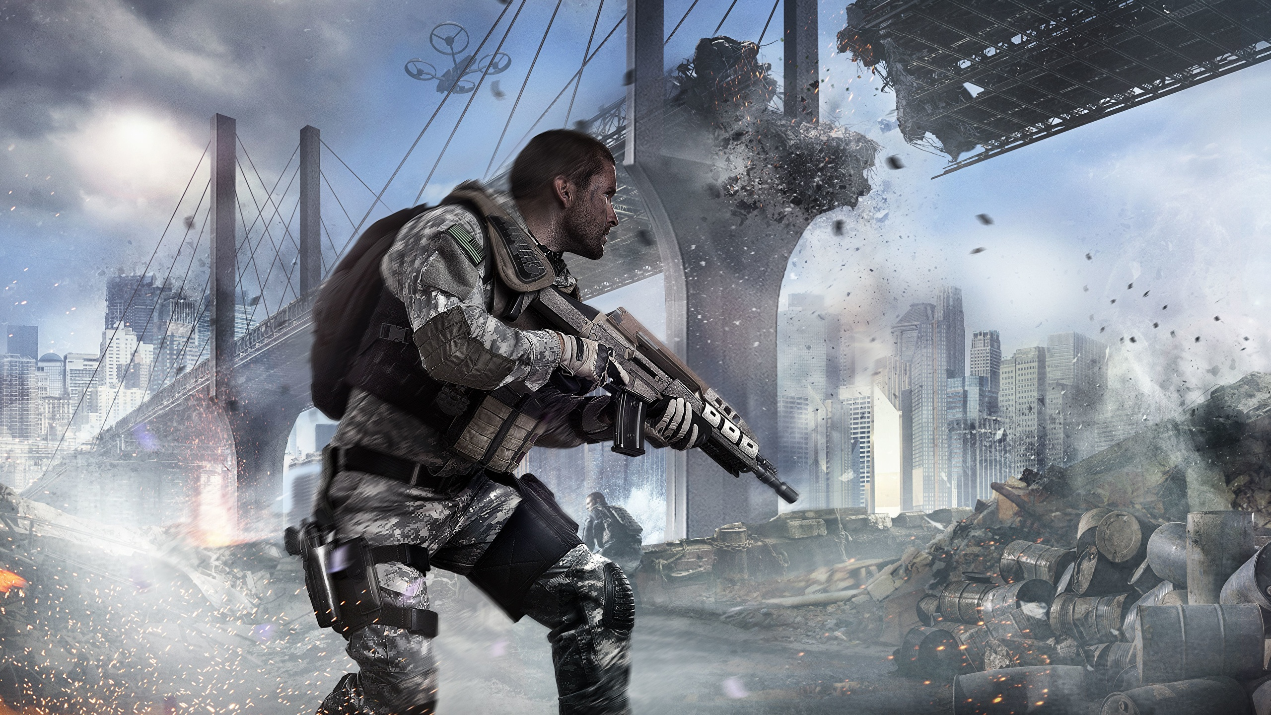 Pictures Call Of Duty Rifles Man Black Ops 2 Bridge 3d 2560x1440
