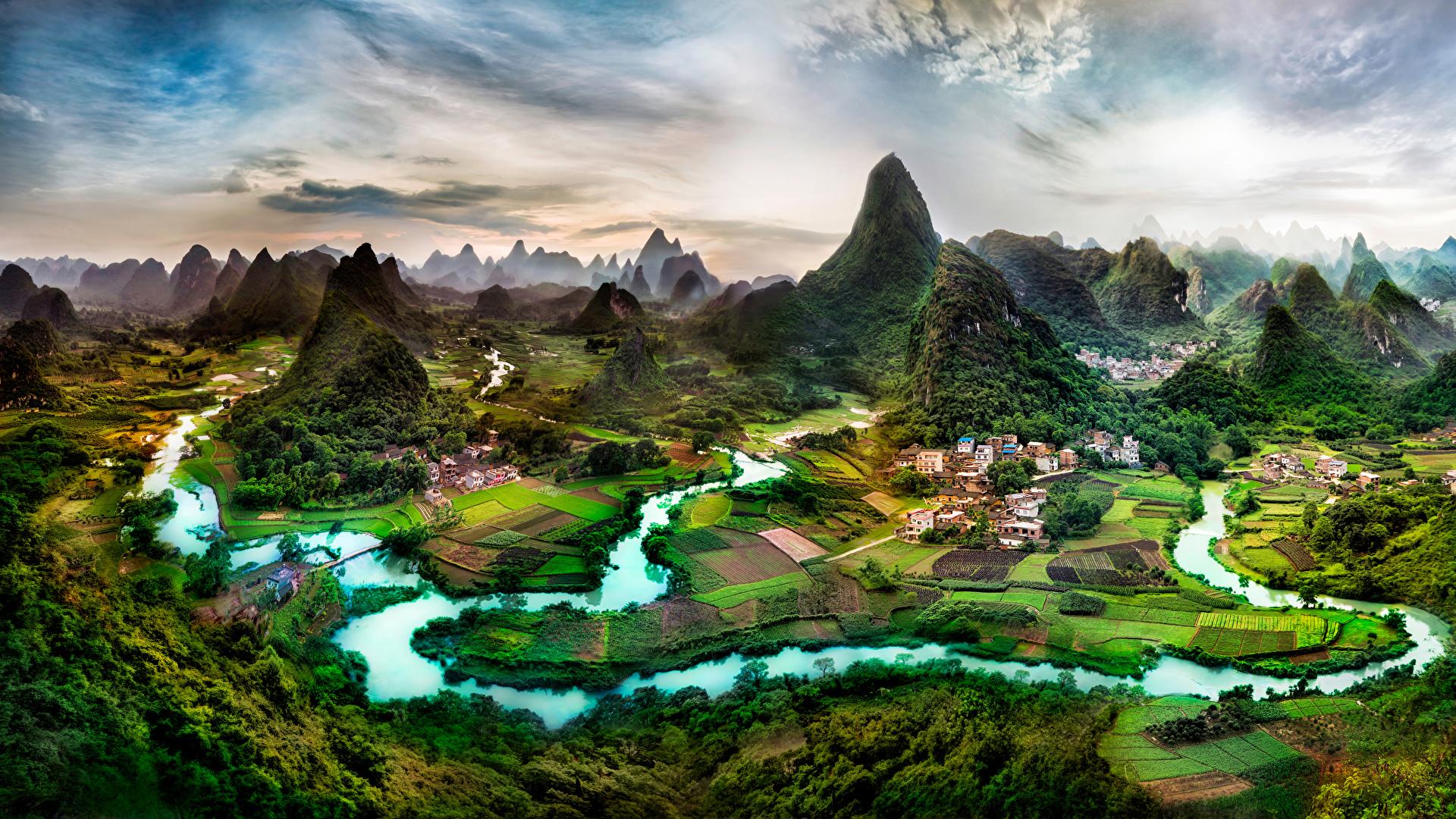 Fotos von China Guangxi Province Natur Felsen Acker Flusse Gebäude 1920x1080 Felder Fluss Haus