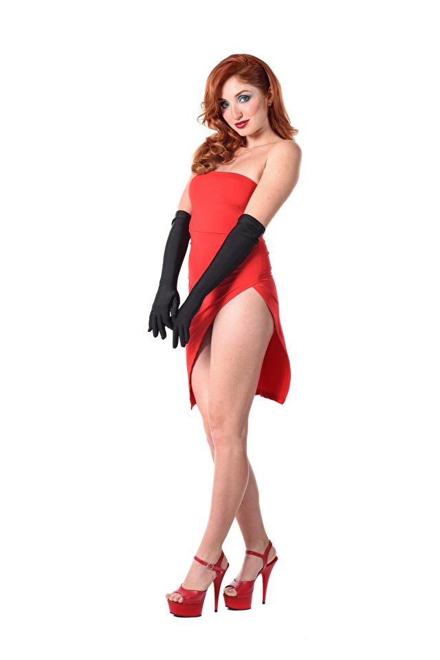 Image Red Fox Michelle H Redhead girl Glove iStripper posing Girls Legs Hands White background Dress Stilettos 640x960 for Mobile phone Pose female young woman gown frock high heels