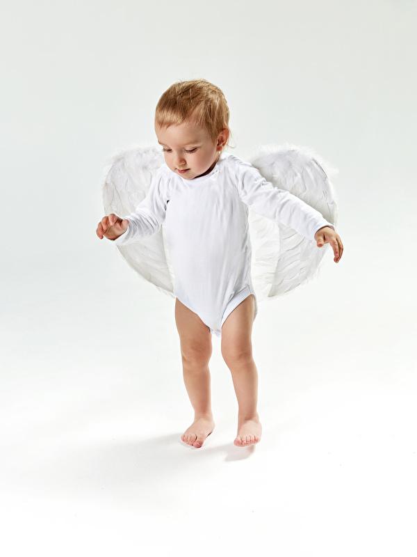 Foto Junge Flügel Kinder Engeln Grauer Hintergrund 600x800