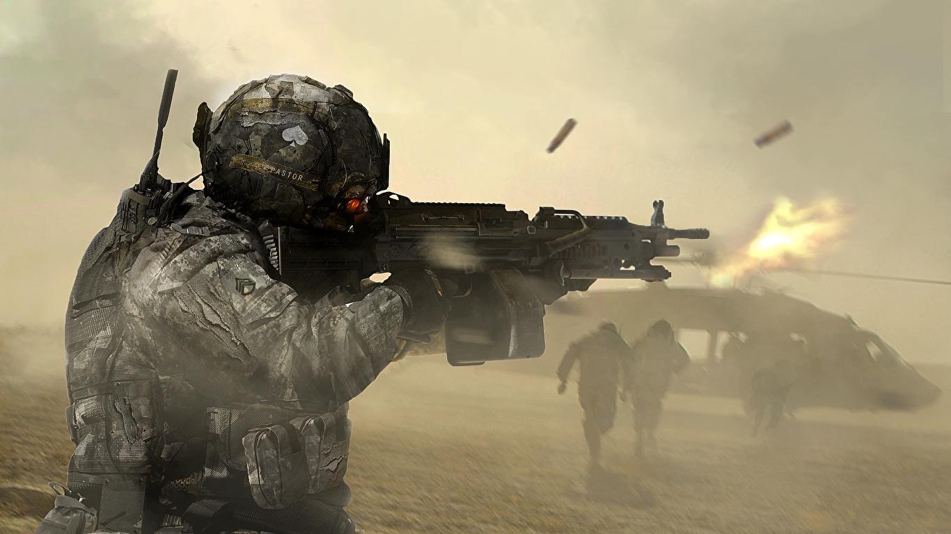 壁紙 1366x768 兵 アサルトライフル ヘリコプター 機関銃 ミリタリーヘルメット 発射 ヘルメット ファンタジー ダウンロード 写真