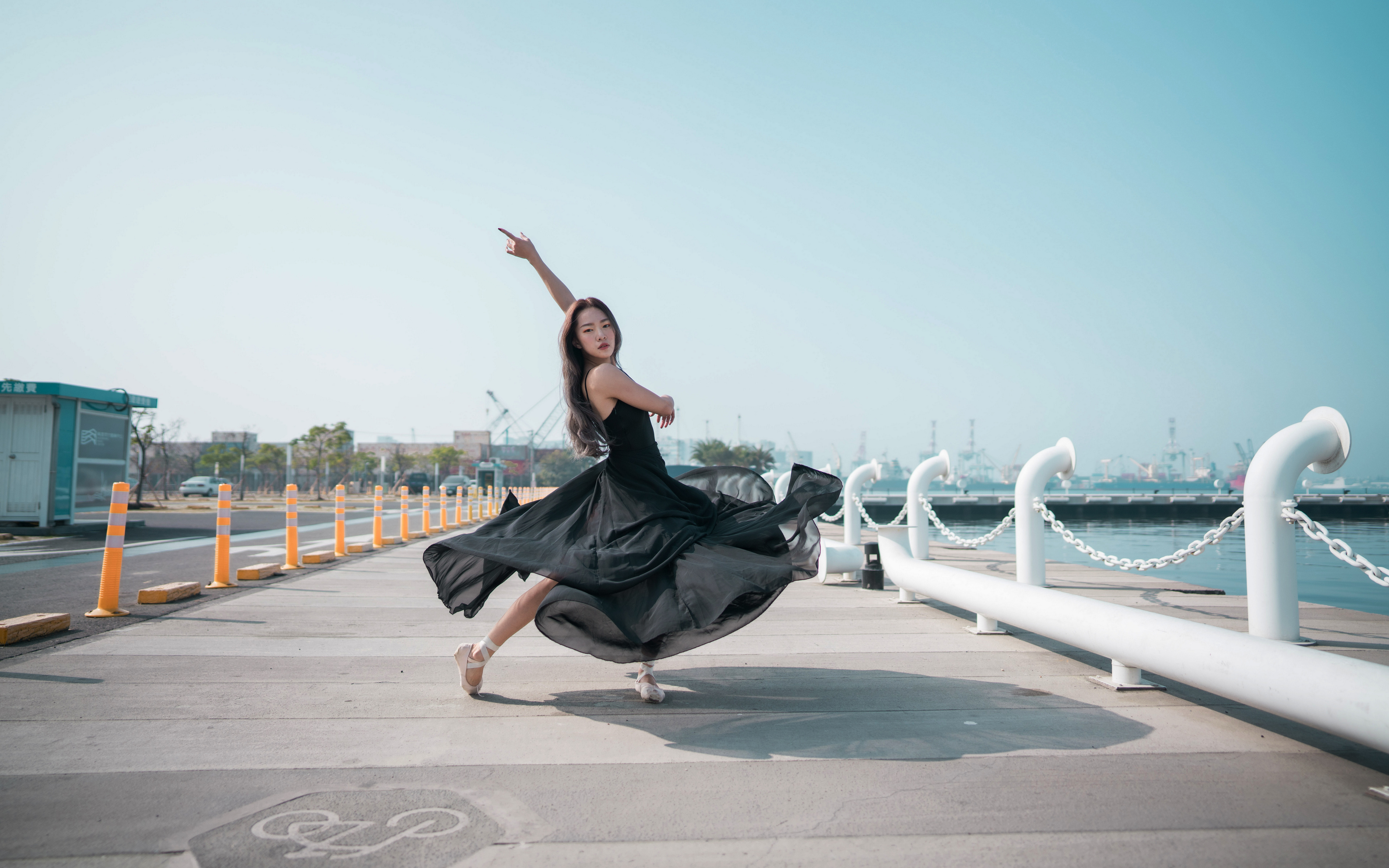 Wallpaper Ballet Dancing Girls Asiatic Waterfront Dress 3840x2400 Dance female young woman Asian gown frock