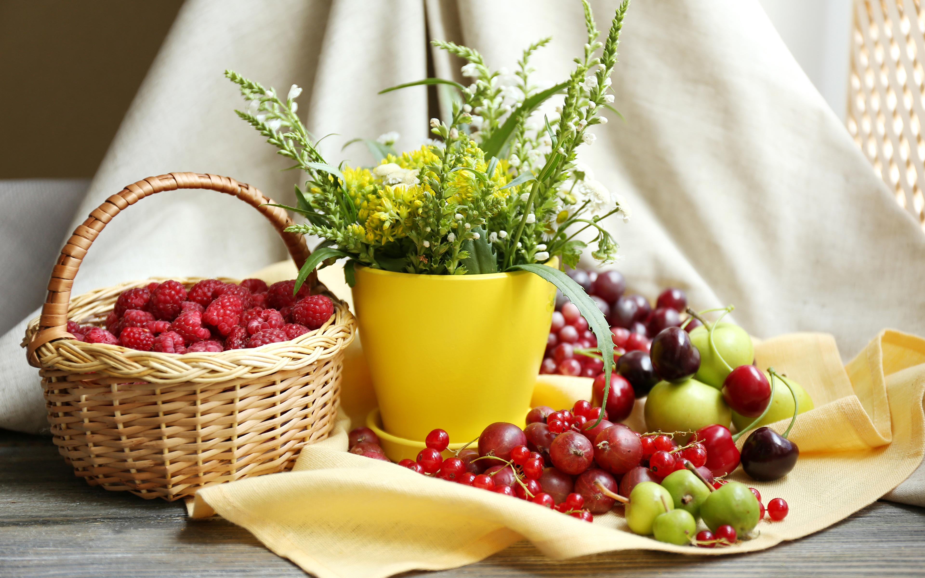 Photos Cherry Currant Flowers Raspberry foxgloves Gooseberry Wicker basket Food Still-life 3840x2400 flower Digitalis