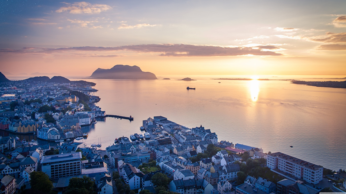 Picture Norway Sea Sunrises and sunsets Horizon From above Cities 1366x768 sunrise and sunset