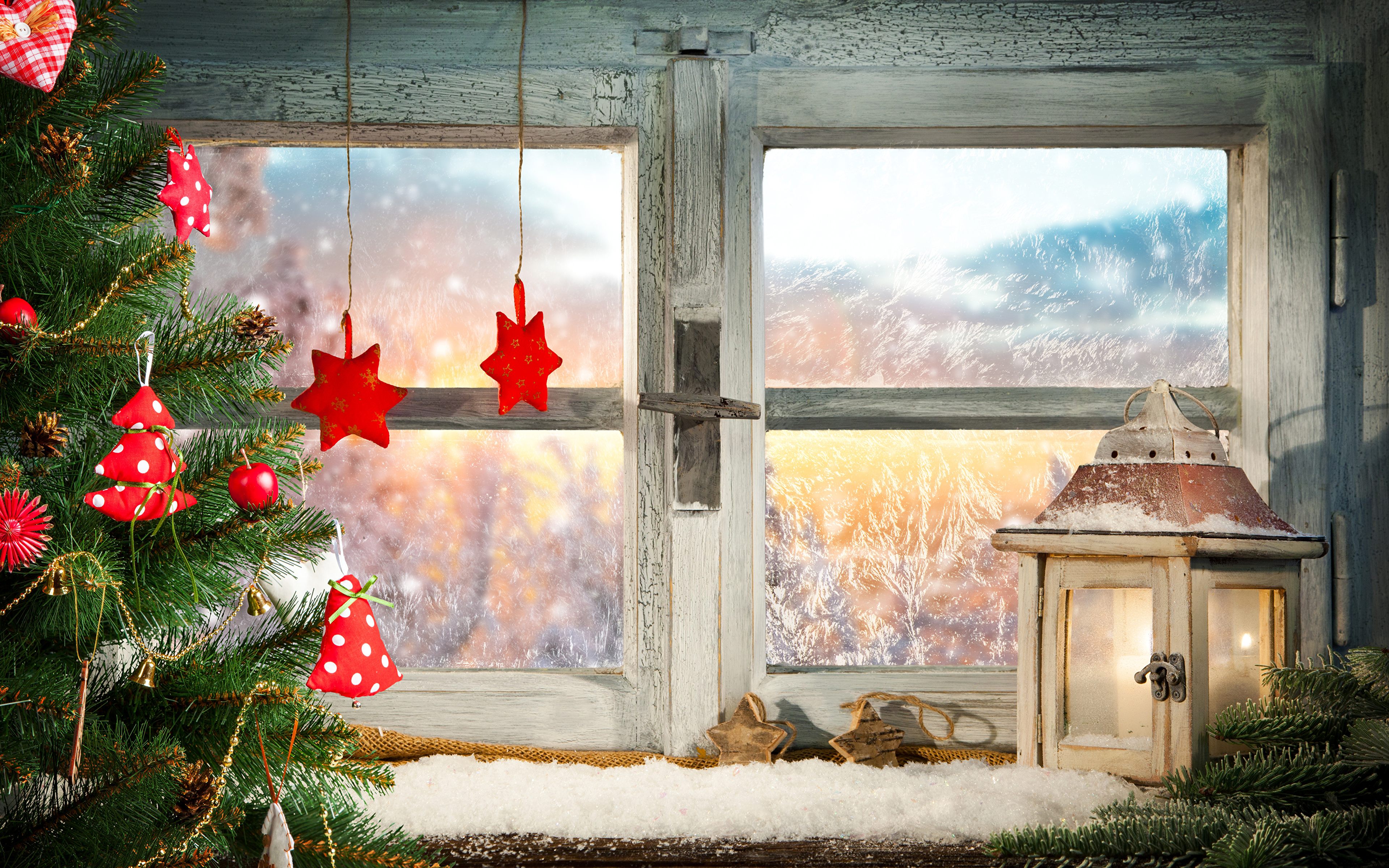 Christmas Window Candles.Photos Christmas Window Candles Branches Conifer Cone 3840x2400