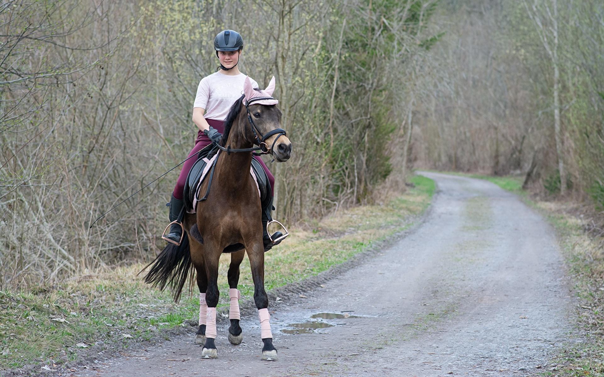 1920x1200 Routes Cheval Casque S'asseyant jeune femme, jeunes femmes, chevaux, assise, assis, assises Filles
