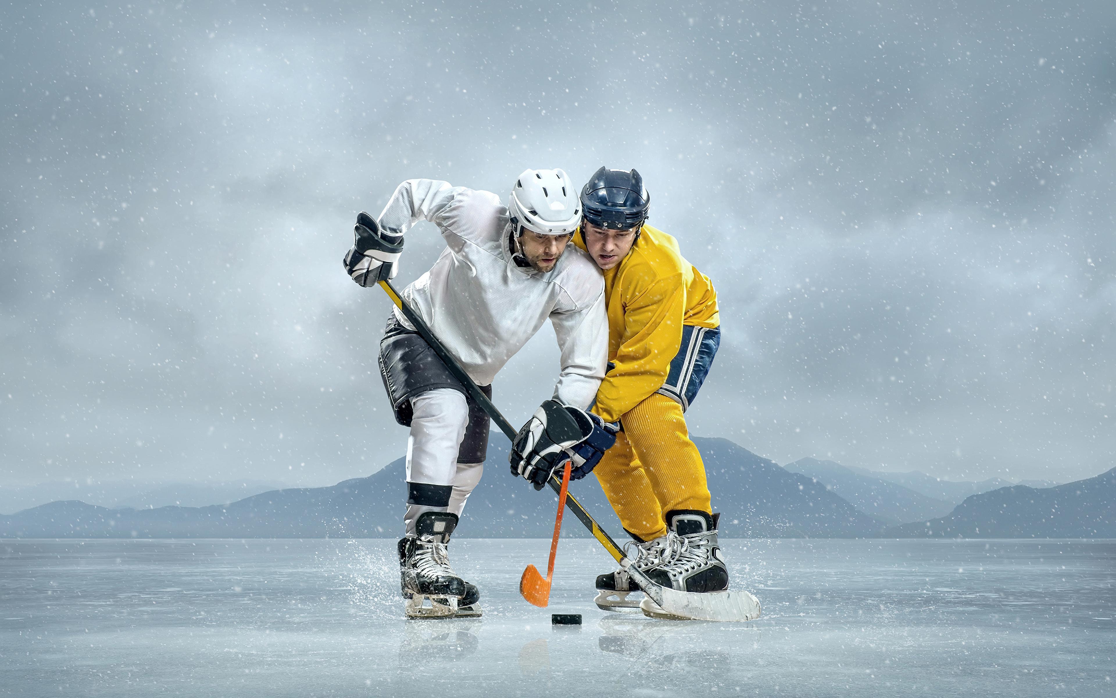 Hintergrundbilder Helm Mann Eis 2 Sport Hockey Uniform 3840x2400 Zwei