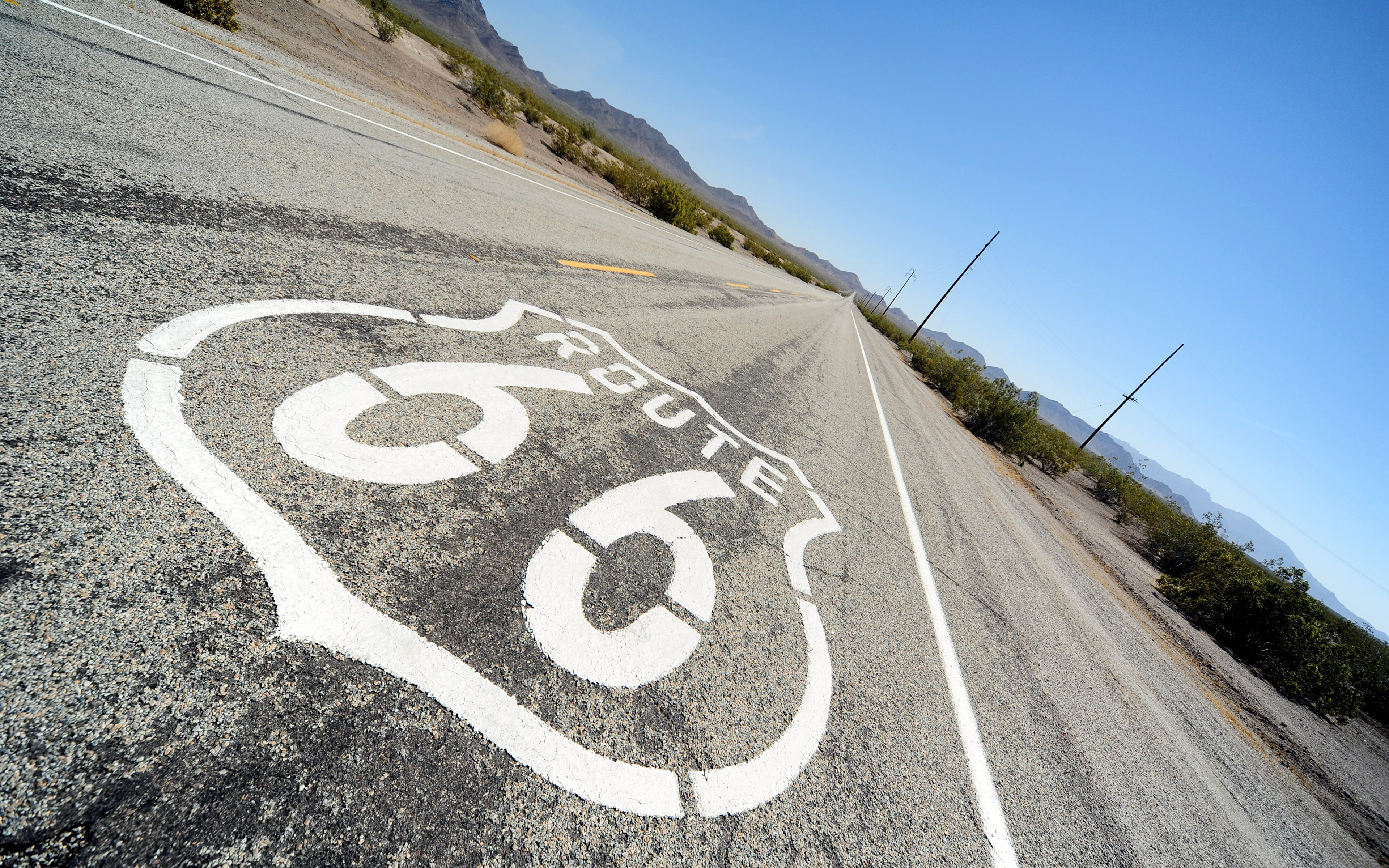 Wallpaper Los Angeles Usa Route 66 Roads Asphalt 3840x2400