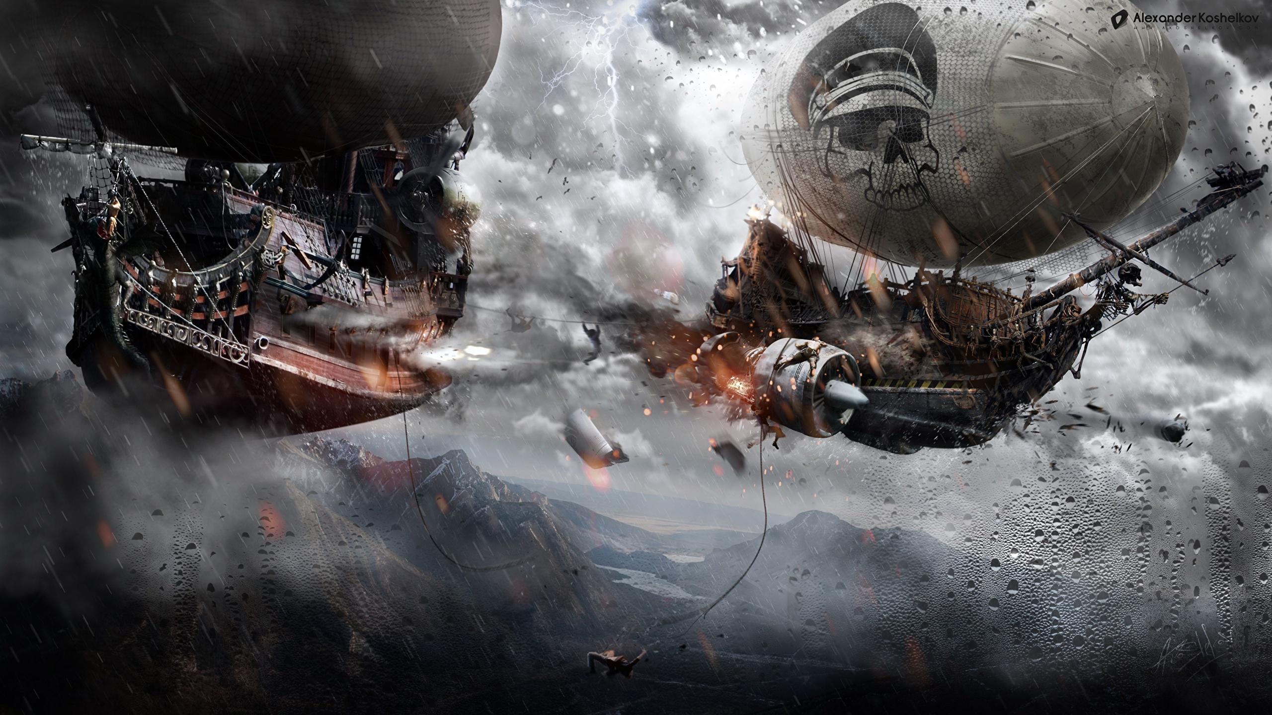壁紙 2560x1440 スチームパンク 船 戦闘 飛翔 ファンタジー ダウンロード 写真