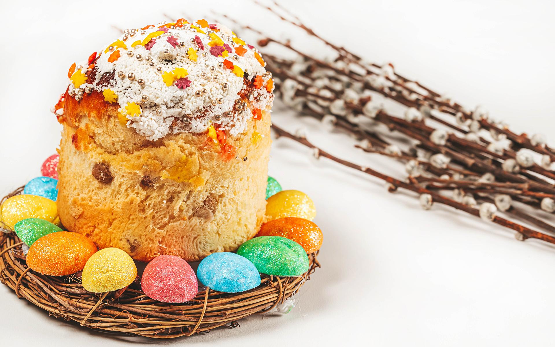 Foto Ostern eier Nest Kulitsch Ast Lebensmittel Weißer hintergrund 1920x1200 Ei das Essen