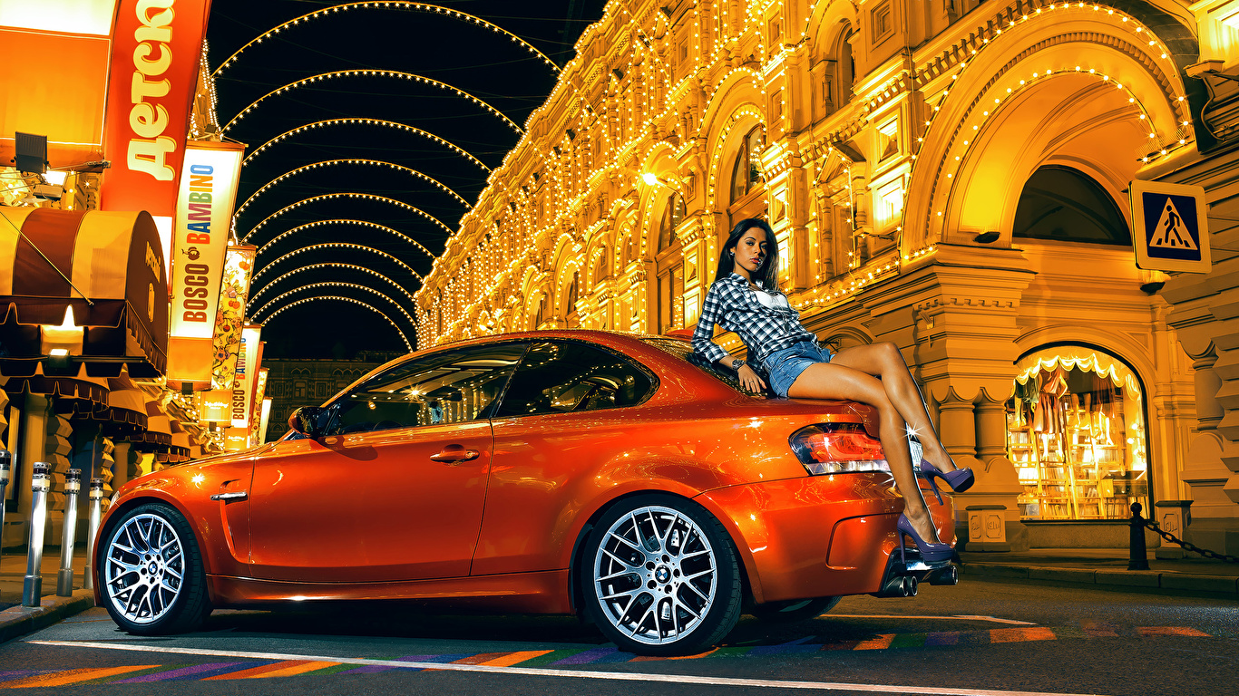 Wallpaper BMW M1 1M Coupe Girls Orange Cars Side 1366x768