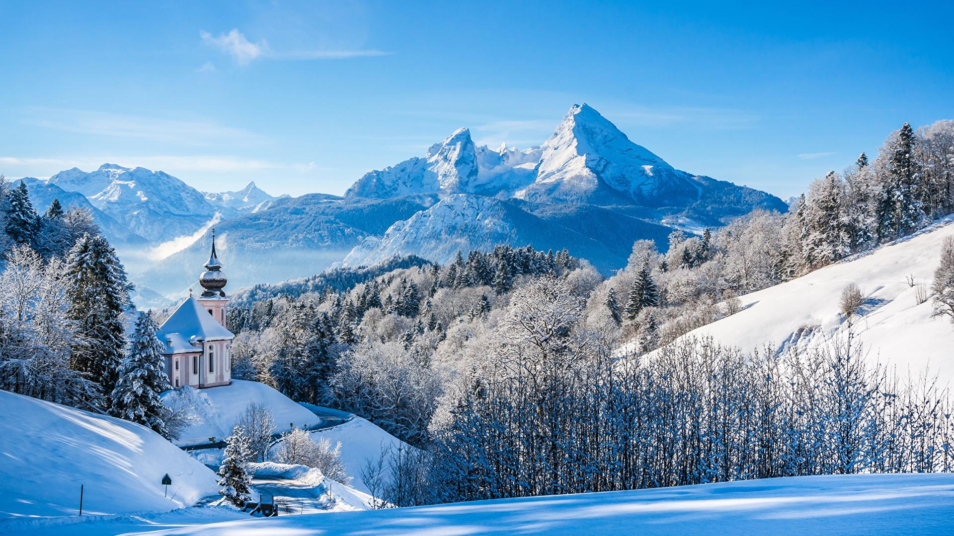Immagine Baviera Alpi Germania Natura Inverno Montagne 1920x1080