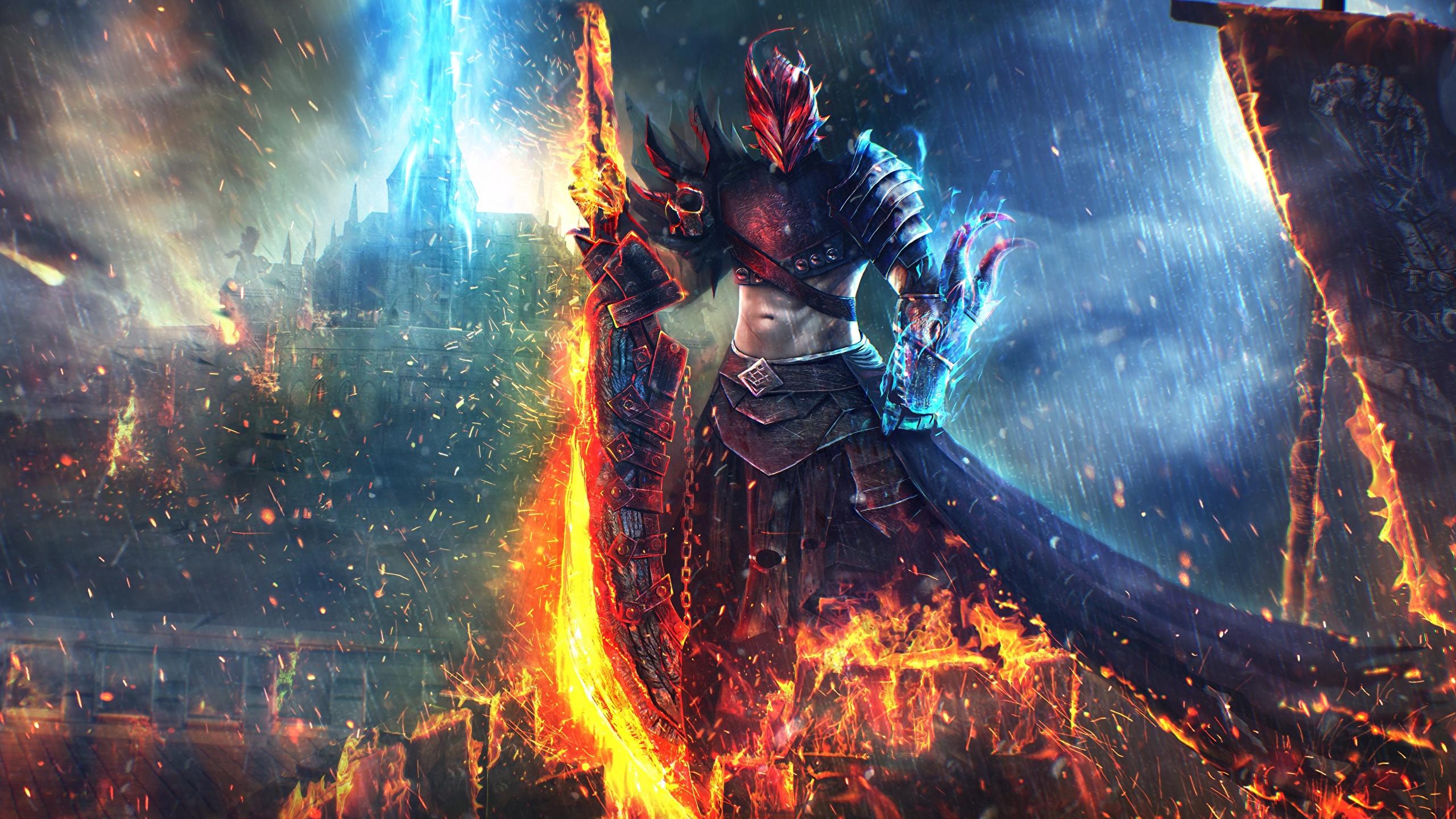 Wallpaper Guild Wars 2 Swords Armour Warriors Art 2560x1440