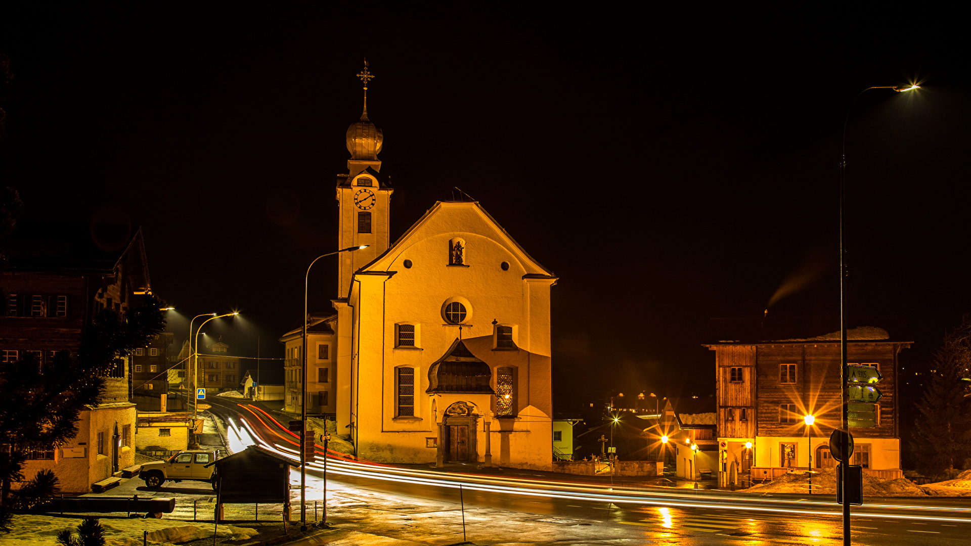 Pictures Switzerland Reckingen Roads Street temple night time Street lights Cities Building 1920x1080 Night Temples Houses