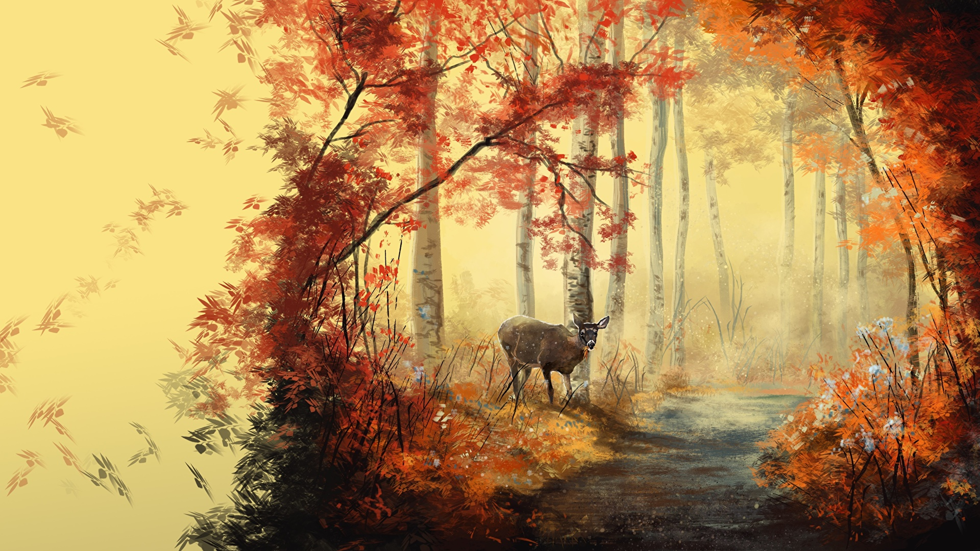 壁紙 19x1080 描かれた壁紙 秋 シカ 木の葉 登山道 動物 自然 ダウンロード 写真