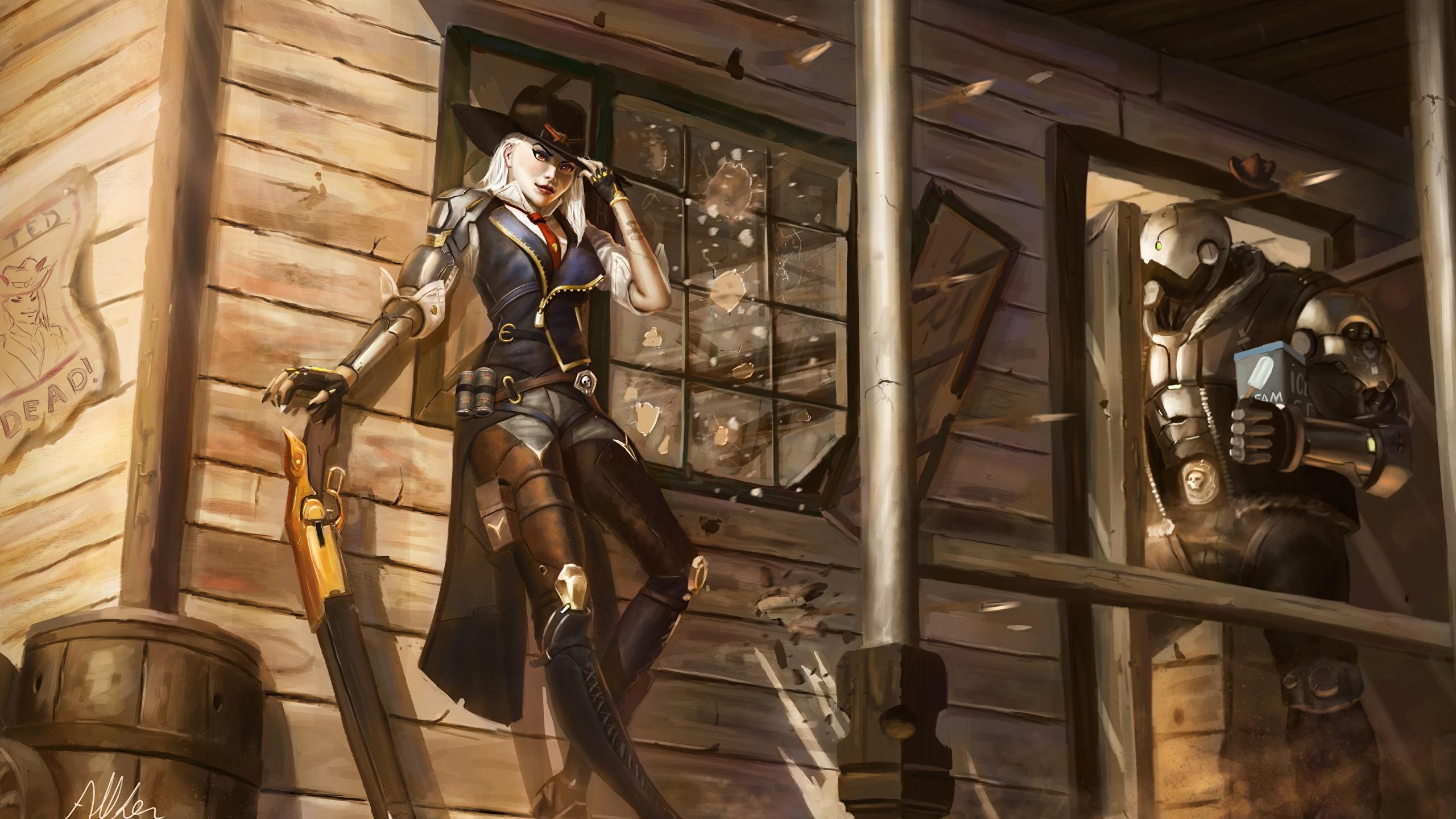 Desktop Wallpapers Overwatch Warriors Ashe Bob Elizabeth 2560x1440