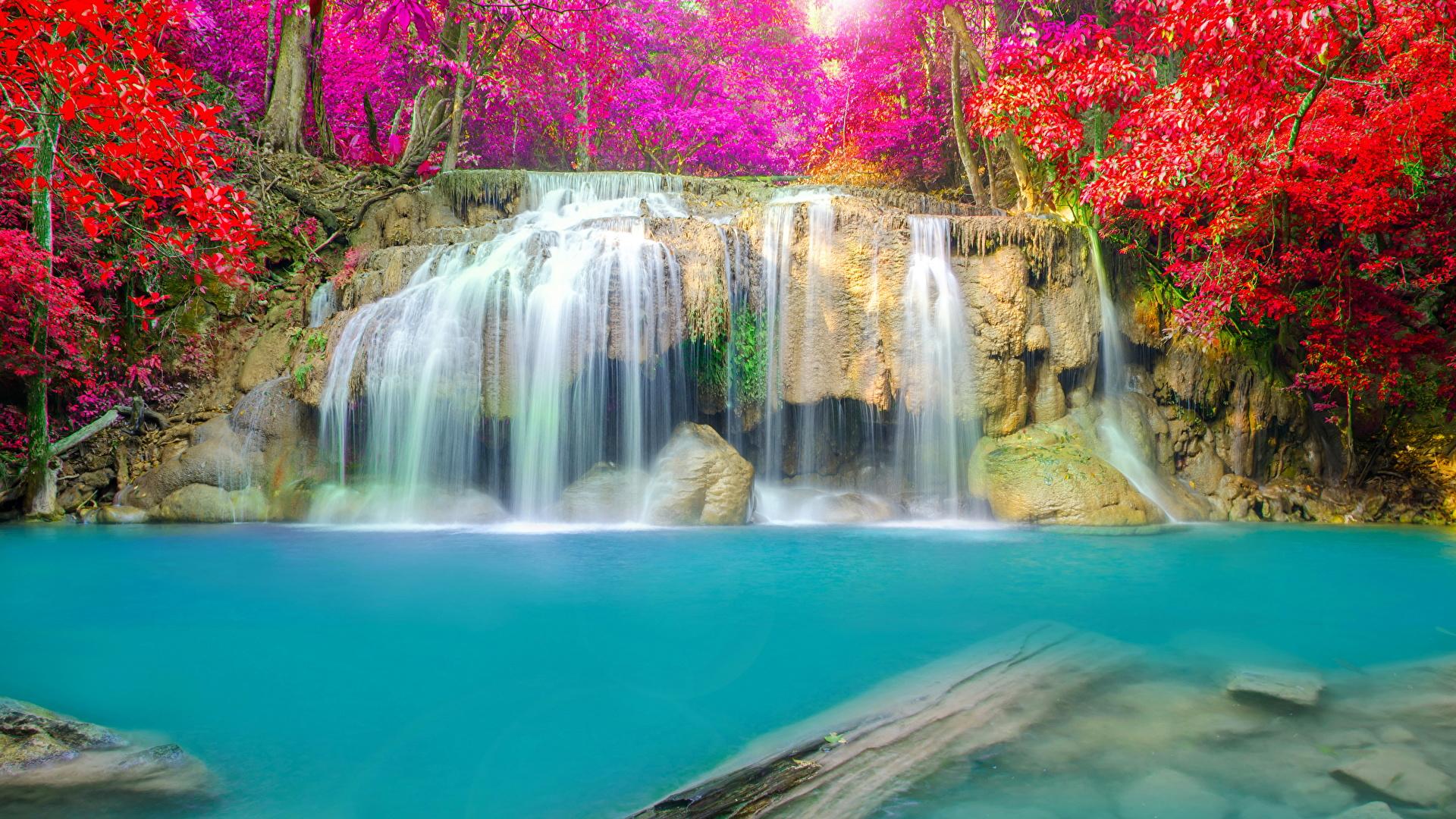 Wallpaper Thailand Erawan Waterfall National Park Nature