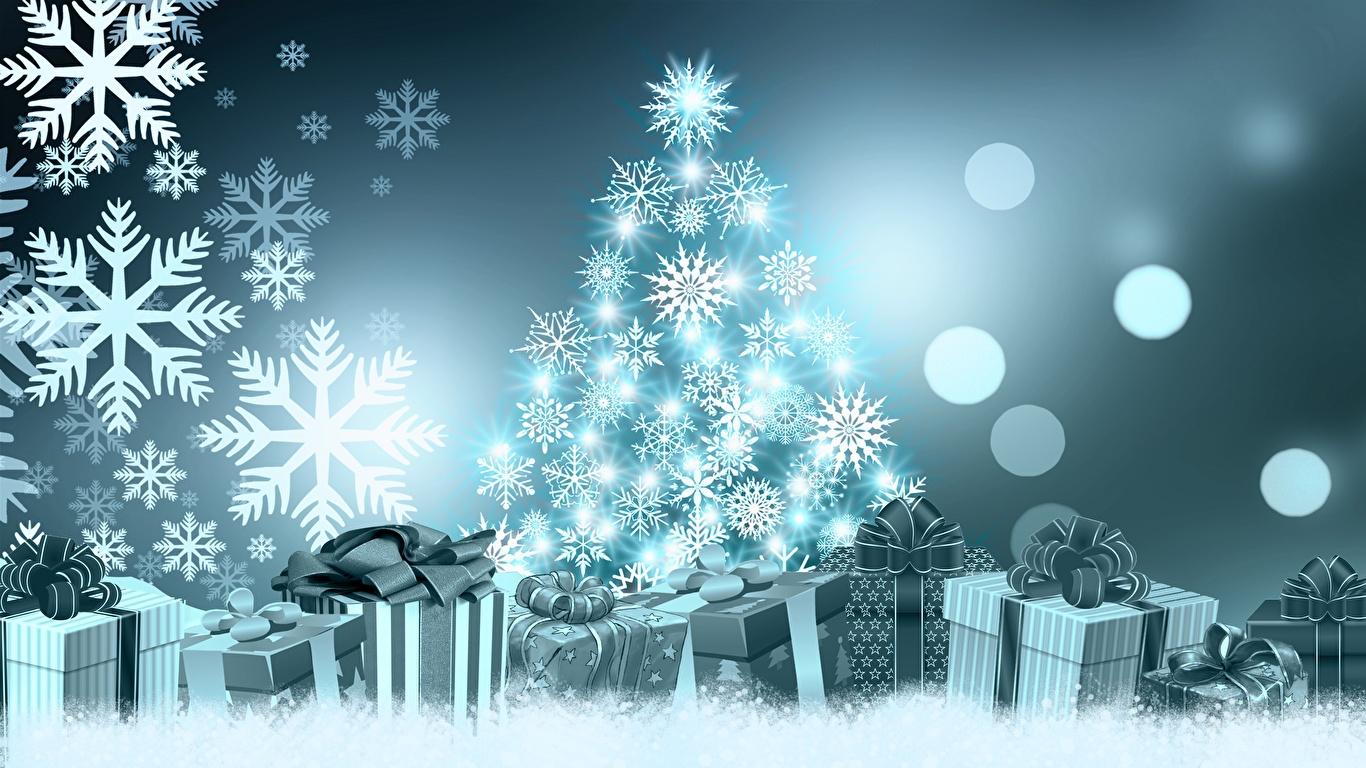Desktop Wallpapers Christmas Snowflakes Christmas Tree 1366x768