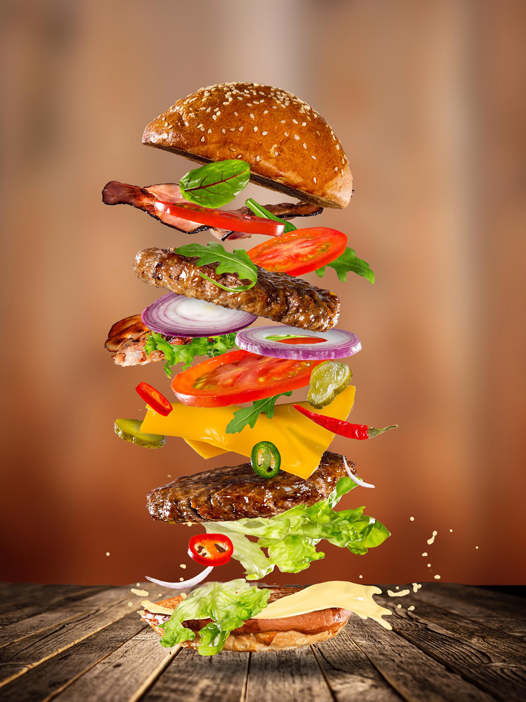 Fotos von Burger Brötchen Fast food Gemüse Lebensmittel Fleischwaren Bretter 2048x2732 Hamburger