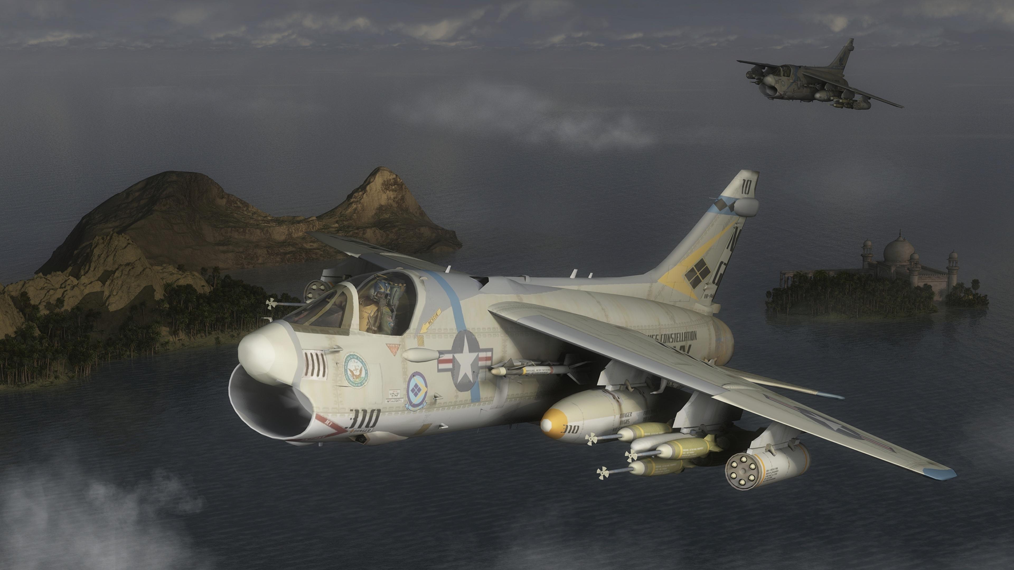 壁紙 3840x2160 飛行機 戦闘機 Ling Temco Vought A 7 Corsair Ii 飛翔 3dグラフィックス ダウンロード 写真