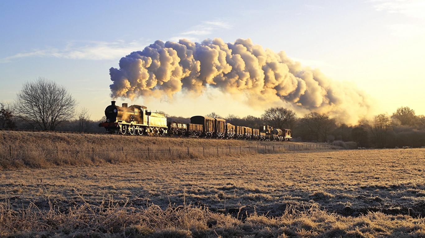 zdjęcie pociągi Dym 1366x768 Pociąg