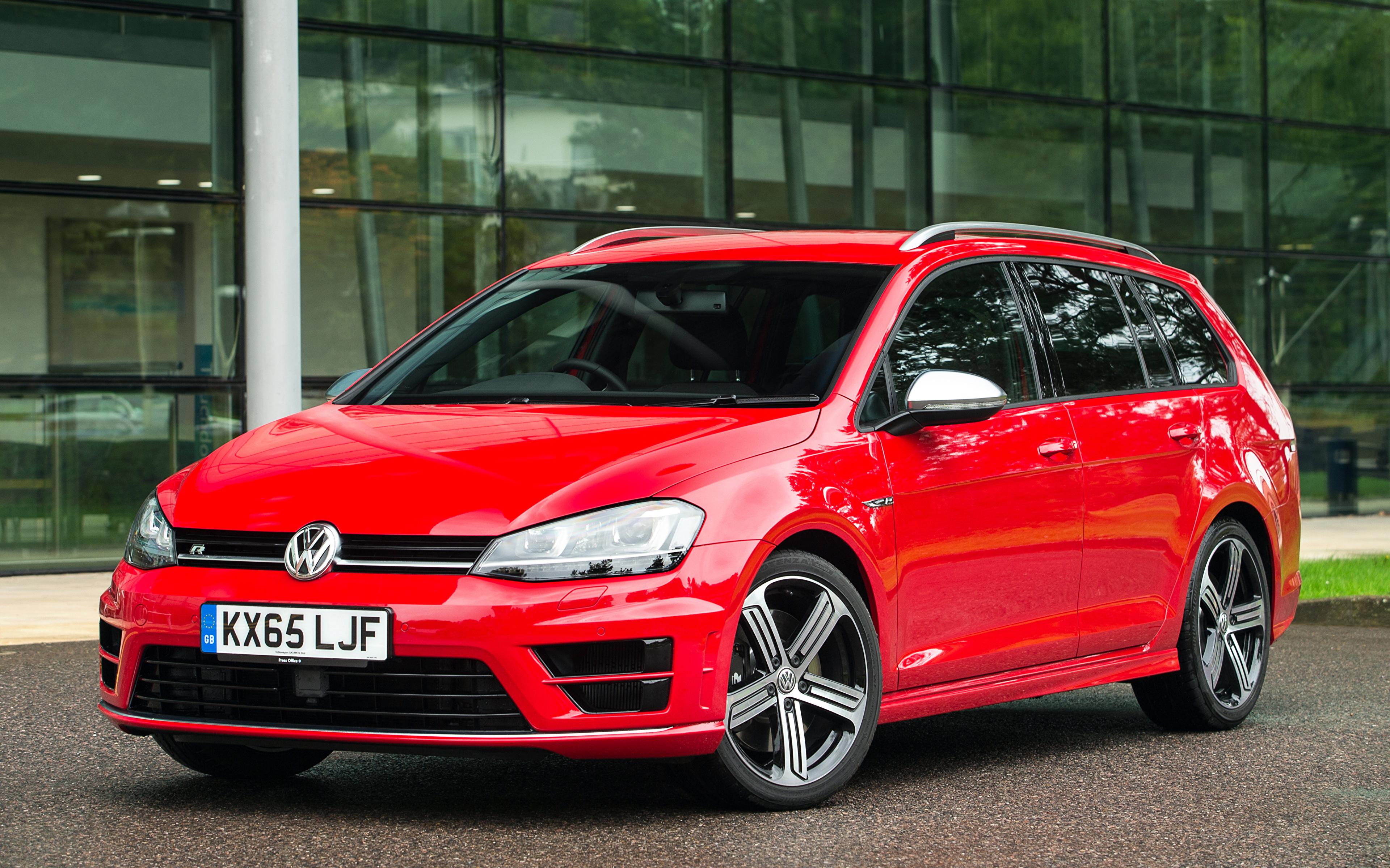 Picture Volkswagen 2015 Golf Vii R Estate Red Cars 3840x2400