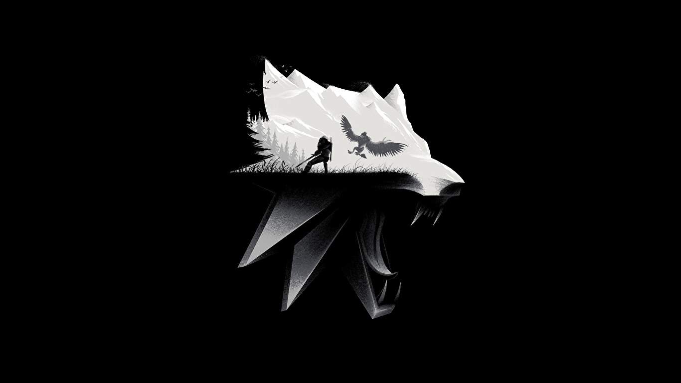 壁紙 1366x768 The Witcher 3 Wild Hunt オオカミ 頭 黒色背景 ゲーム ダウンロード 写真