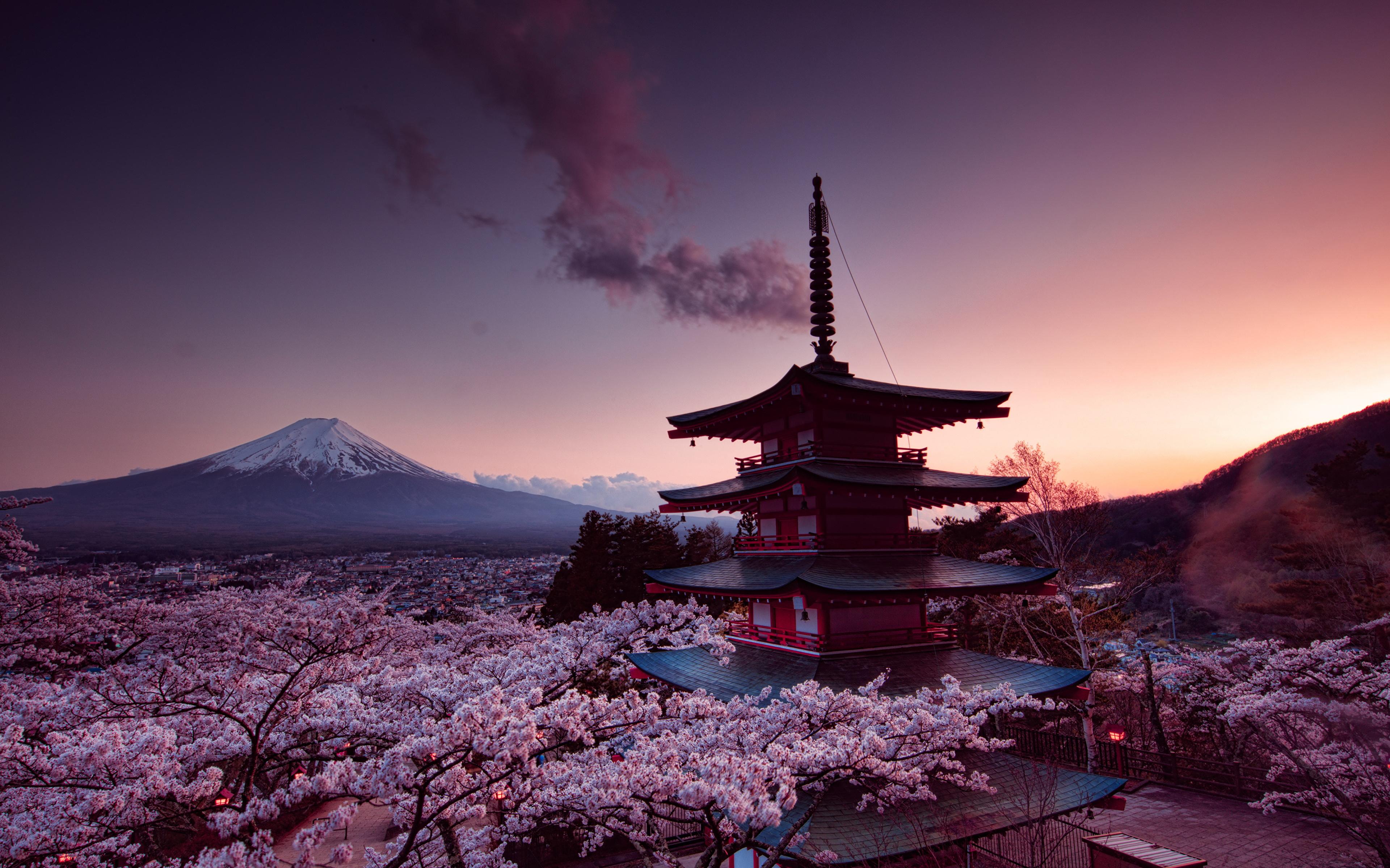 Picture Mount Fuji Japan Volcano Cherry Blossom Churei 3840x2400